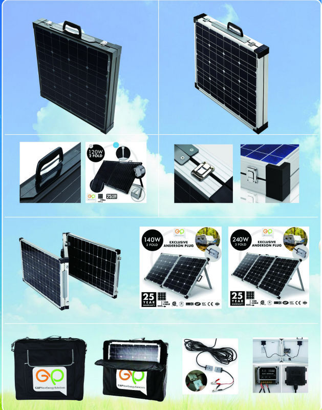 160W portable solar panel power bank