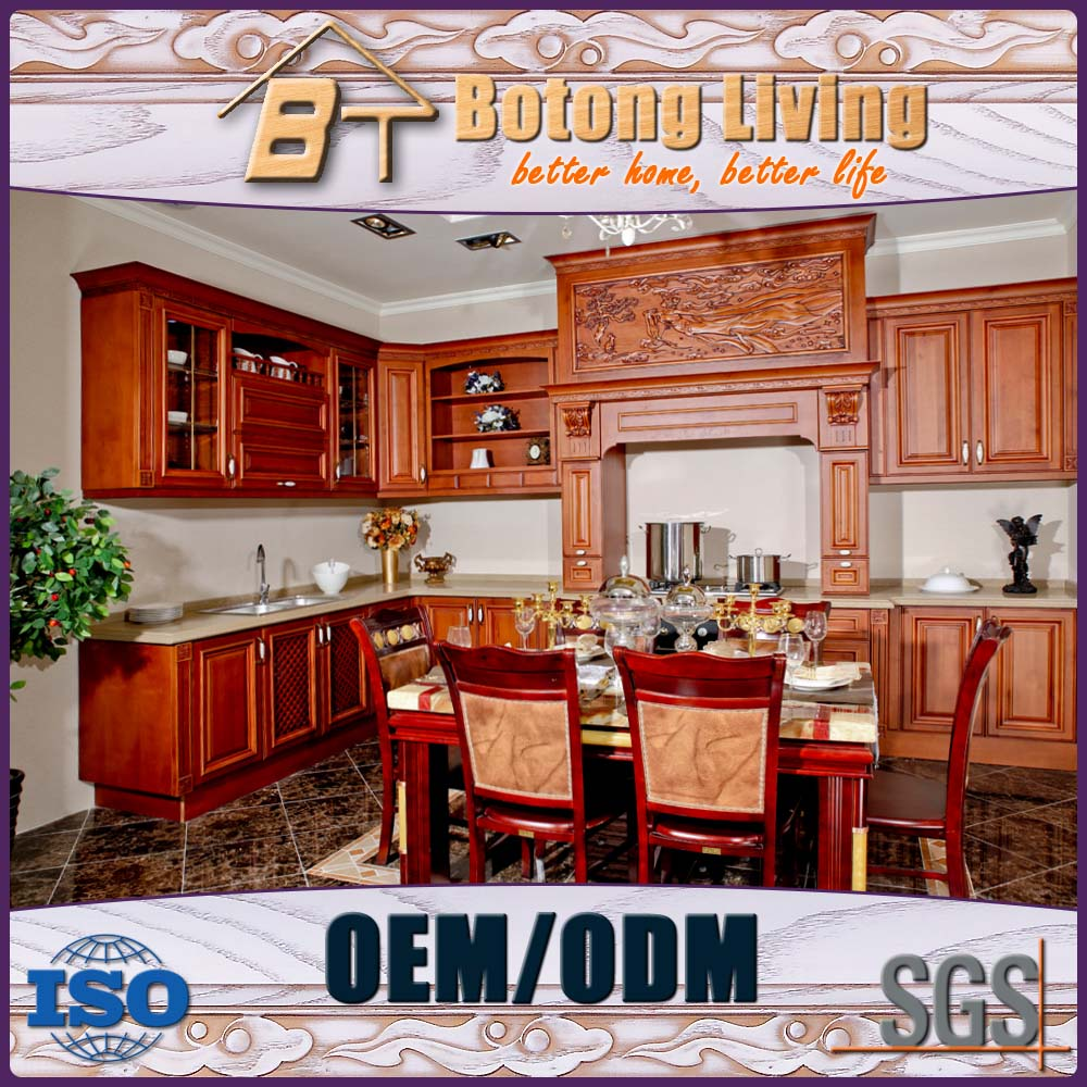 Botong Living KC-SW18 wooden discoutinued old fasion design wooden kitchen cupboard with fancy carving