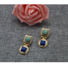 Fashion Designs New Model Earrings Women Jewelry , Handmade Charm Gold Plated Earrings With Blue & Green Stone