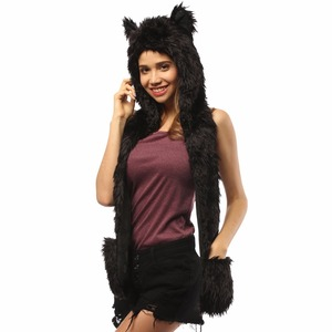 Black Panther Hat Anime Hoodie Faux Fur Animal Hood Scarf Furry Hoody For Rave Festival