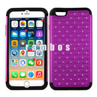 2 in 1 Hybrid Shock Proof Rhinestone Bling Bling Hard Plastic Silicon Back Cover Cases for iPhone 6 4.7 & 6 Plus 5.5