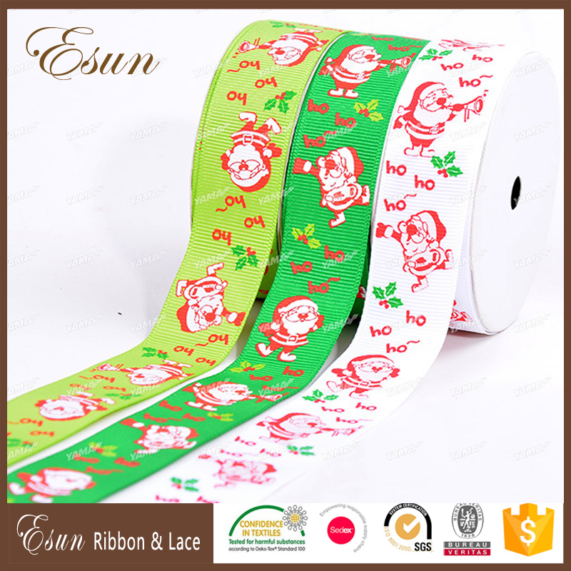 Custom logo design stretch printed adhesive satin ribbon for christmas