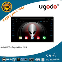 ugode high quality quad core android car dvd gps radio player for toyota hilux 2016