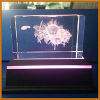 Customized Laser Engraved 5x5x8cm 3D Crystal Block With Led Light Base