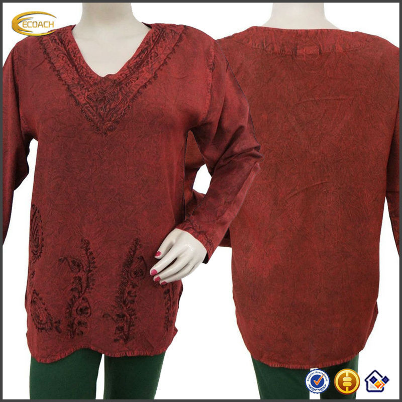 OEM Wholesale Kaftans Rayon Top Embroidered Summer Women Wear Kurti Long Sleeve Maroon indian tunic