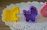 set of four 3D color figurine cookie mould calyx cutter