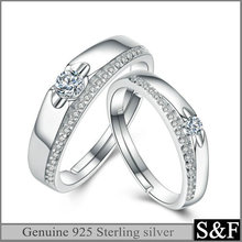 Genuine Engagement Wedding Silver Jewelry , 925 Sterling Silver Ring With Rhodium Plated