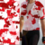 Cloth print design red and white color textile digital printing sportswear on fabric