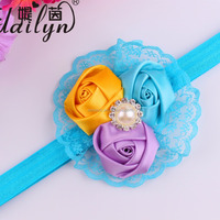 Beauty Colorful Baby Girls Rose Lace Hairbands with Pearl