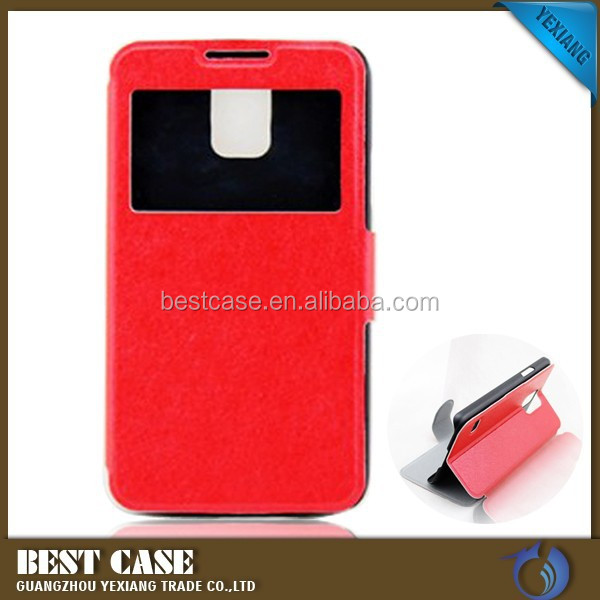 High quality Glass Window leather Case for Samsung galaxy s5 i9600