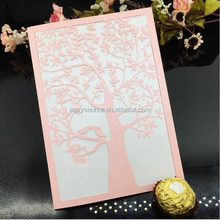 Newest Laser cards Cut arabic wedding invitation cards with Embossed Flower