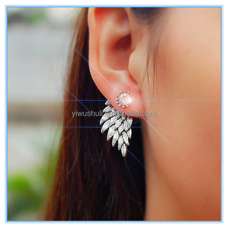 Wholesale Retro Lady Crystal Angel Wings Alloy Stud Earrings