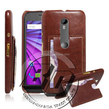 Newest Stylish premium leather case kickstand card pocket on back cover for Motorola Moto G3 leather case fast delivery