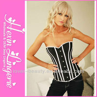 Wholesale NO MOQ Limit Satin and Lace Vertical Stripes Plain Corset