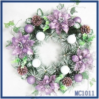 Merry Christmas ! high quality factory price low MOQ promation purple flower white ball christmas tinsel garland