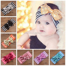 Sequin Bow Stripe Cotton knot <strong>headband</strong>, baby <strong>headband</strong> wholesale, Baby <strong>Headband</strong>