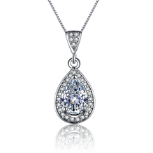 MDEAN White gold plated necklace pendants for Women AAA Zircon Wedding Luxury jewelry MSN003