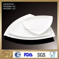 Ceramic White Triangle Dinner Plate, Porcelain Plain white Charger Plate with fluted edge 8inch~12inch for Hotel & Restaurant