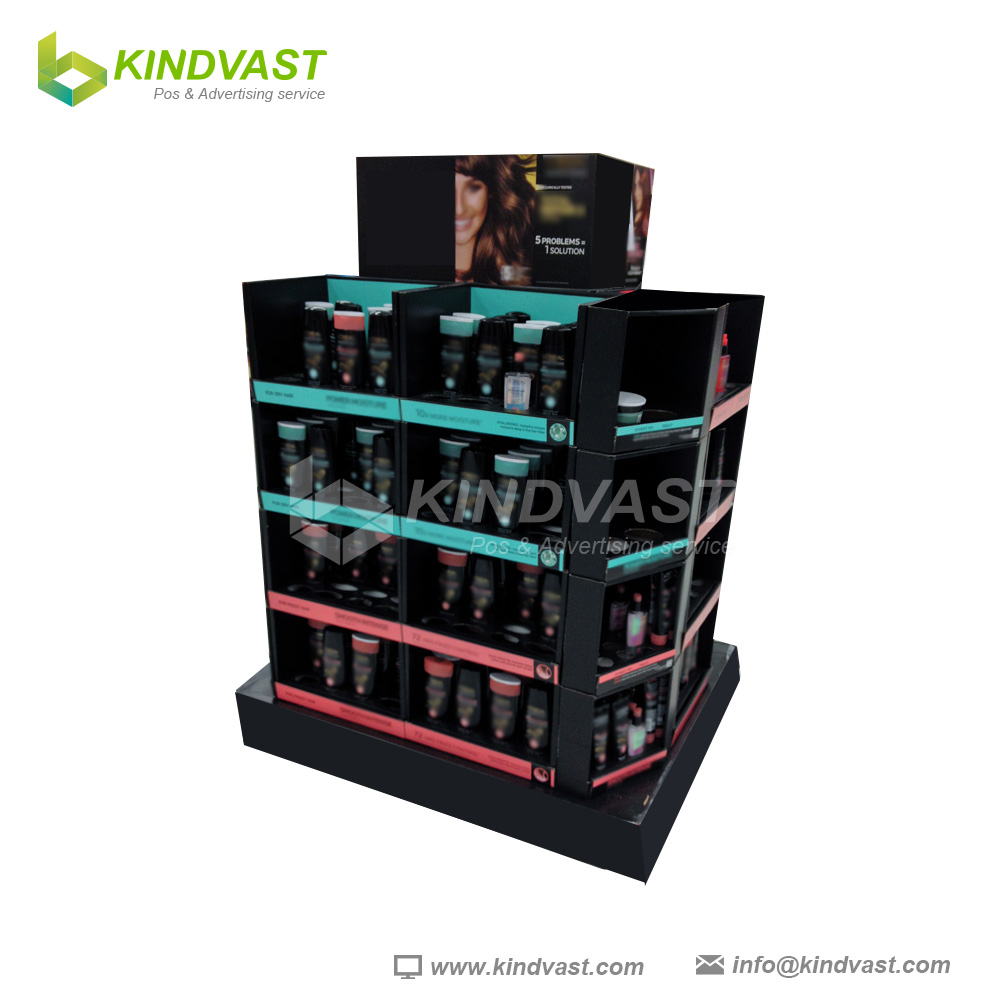 cardboard pallet display shelves for cosmetic retail