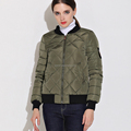 China supplier custom logo short khaki women bomber down jacket for winter