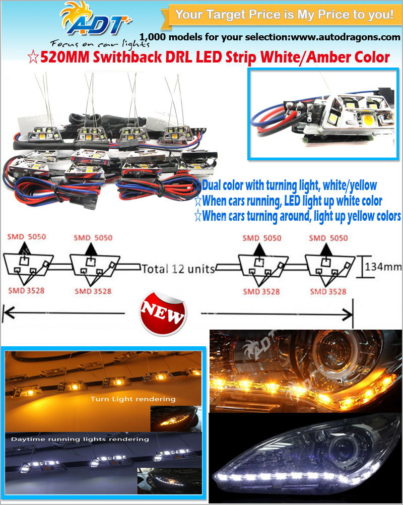 Top sale auto lighting led flexible DRL daytime running light