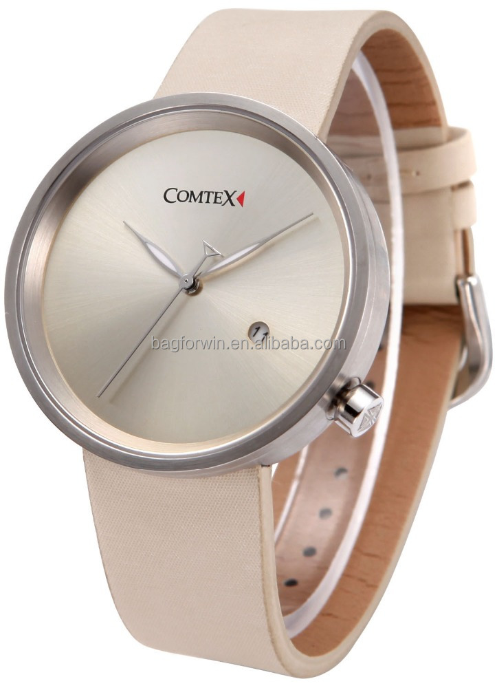 2016 Newest Fashion Casual Wristwatch Women Khaki Leather Strap Waterproof Watches(S6199G)