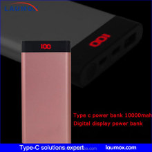 Hot sell Digital display power bank for mobile phone! Type c power bank 10000mah with dual USB output for 5v mobile devices