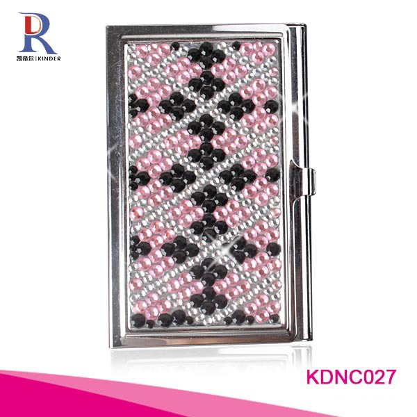Wholesale rhinestone business name card holder,pocket credit card case