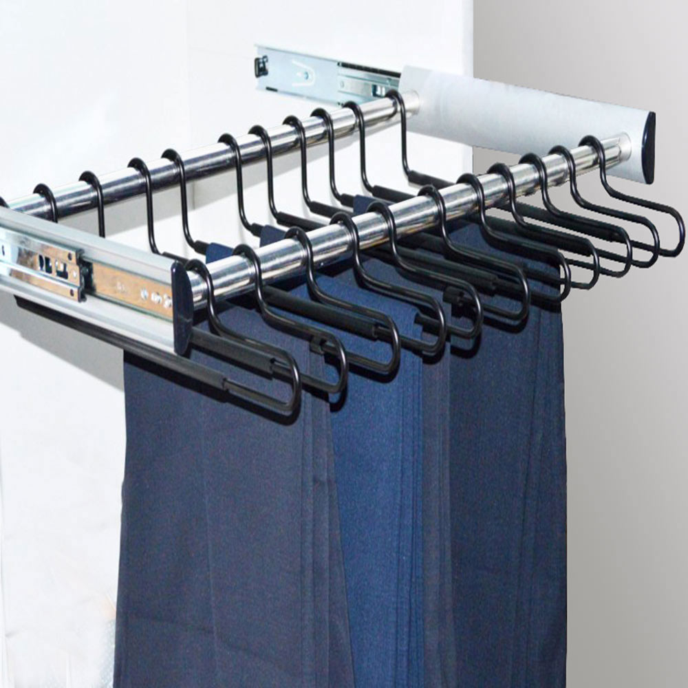 Elegant furniture accessories pull out metal aluminum pants hanger