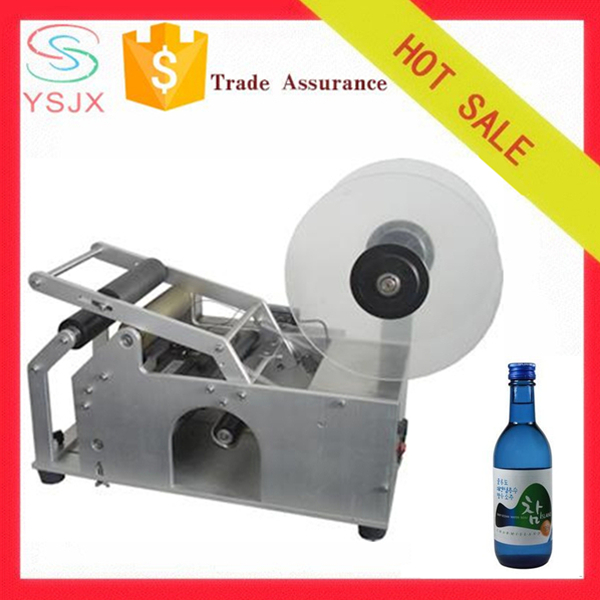 New style manual label applicator, labeling machine for round beer bottle with printer