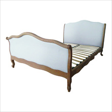 Antique french country style latest double bed designs tufted oak wood frame linen french king size bed