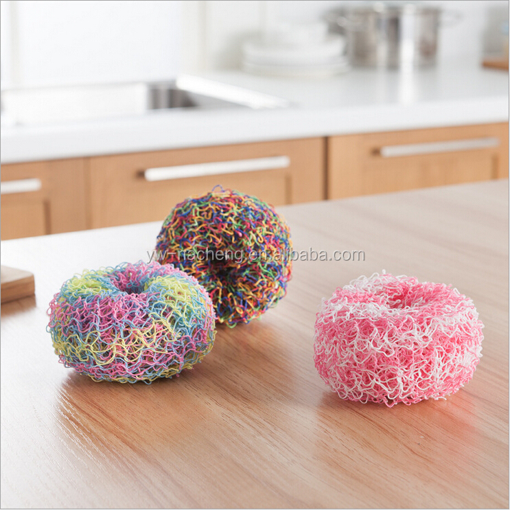 3 pcs Round Kitchen Cleaning Dish Washing Scouring Pad Sponge Scrubber