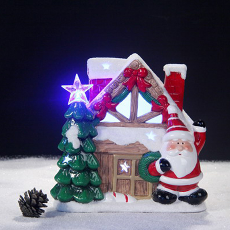Festival decorative christmas snow house ceramic hanging christmas ornaments