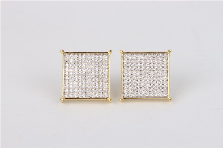 2016 popular unisex square design 925 sterling silver earrings with AAA CZ stones hip hop jewerly