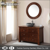 Natural style Oak wood bathroom vanity cabinet with marble sink