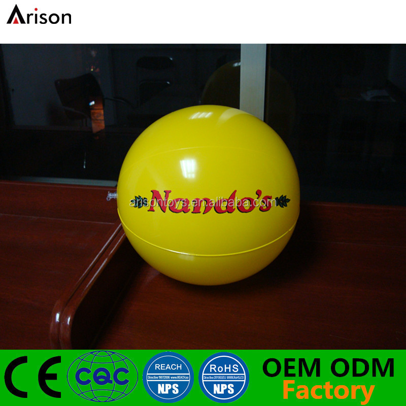 Solid color yellow CE EN71 non-phthalate inflatable beach ball for promotional toys