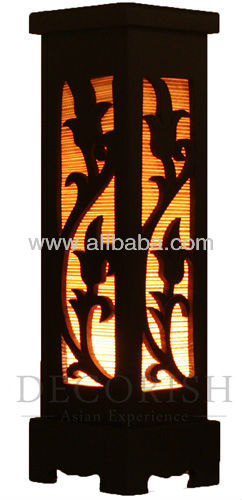Oriental 12-Inch Bamboo Carved Wood Electric Lantern Lights Table Lamp Champaka