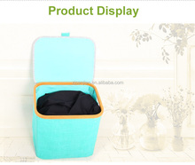 Hotel Laundry Bags/Disassembly Bamboo Wooden Laundry Basket With Lid