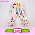 Wholesale pants capoeira children girls triple ruffle shorts capri floral feather pants fashion vintage leggings