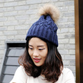 CX-C-74F Wholesale Price Knitted Women Big Real Raccoon Fur Pom Pom Hats For Winter