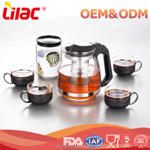 Wholesale custom 650ml/800ml/950ml/1300ml Borosilicate Hand Blown turkish glass tea pot sets