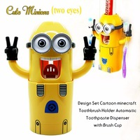 Newest Cute Minions Design Set Cartoon Minecraft Toothbrush Holder Automatic Minion Toothpaste Dispenser with Brush Cup