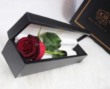 Custom made own brand luxury leather rose boxes, rose packaging boxes, leather rose boxes