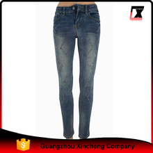 young girl hot sale crystal decoration denim skinny women jeans