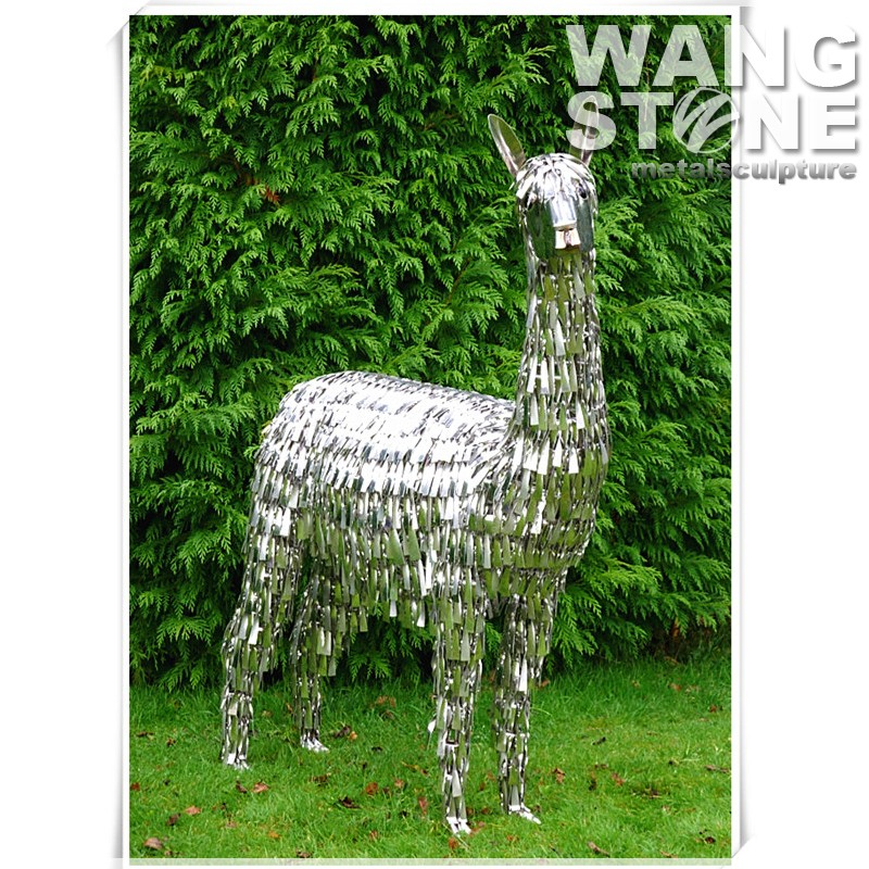 Stainless Steel Garden Animal Alpaca Metal Sculpture