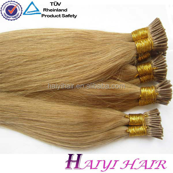 100% European Remy Human Extensions Stick I Tip Pre-Bonded Keratin Hair