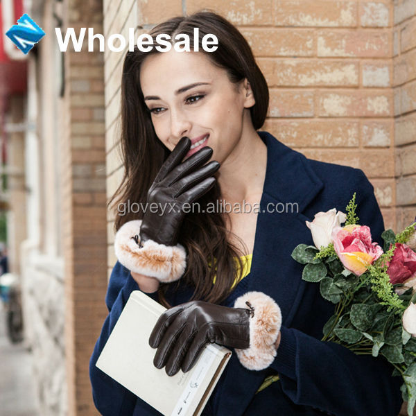 Luxury Genuine Soft Ladies Leather Gloves with 100% Rabbit Fur Cuff Fashion Dressing
