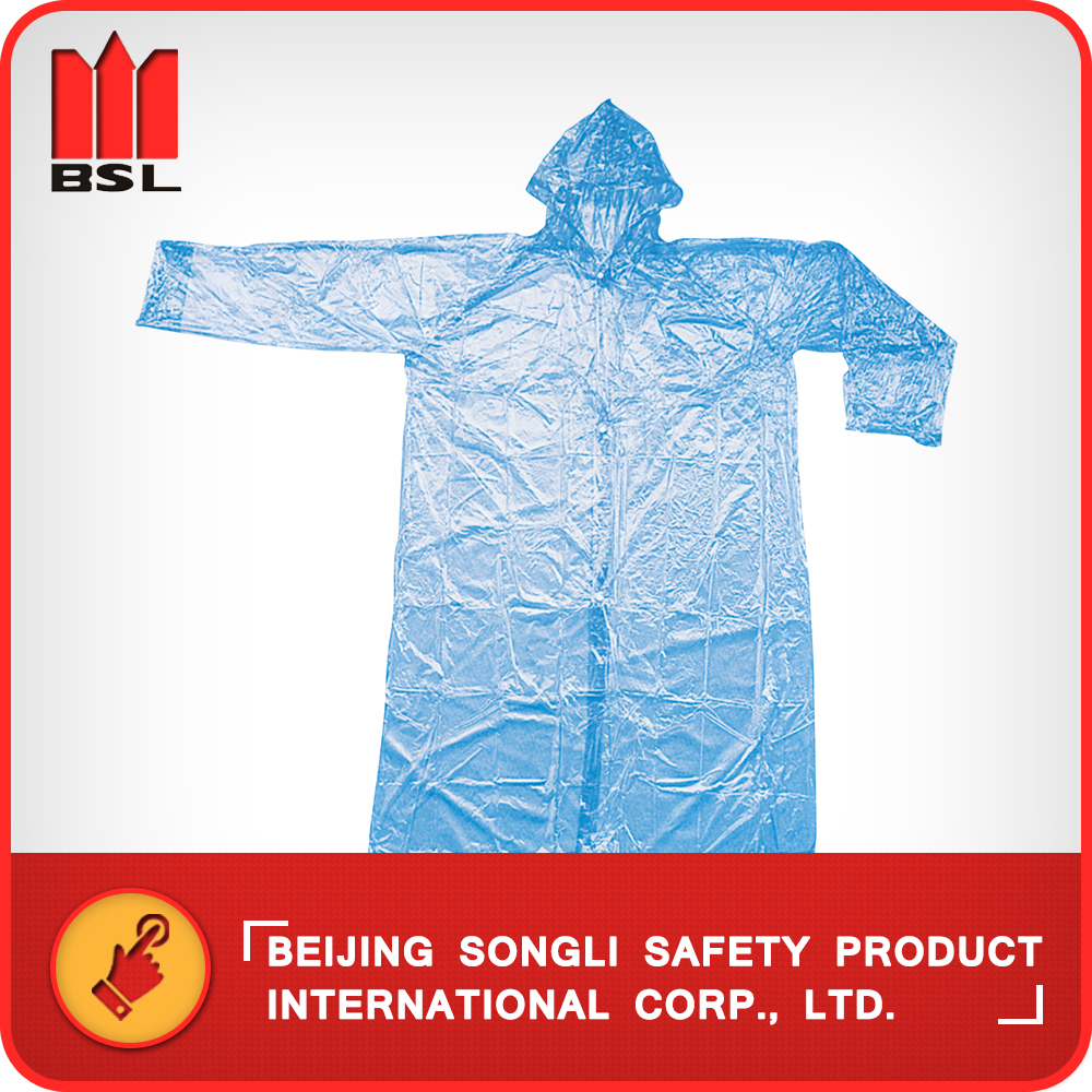 SLF-9086 0.02mm Transparent PE Disposable Poncho Kids Rain Coat