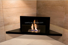 Black Indoor used latest wall-mounted corner bioethanol fireplace with glass