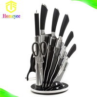 Nice modern design best quality 8pcs stainless steel sharp blade soft touch handle royal kitchen knife set